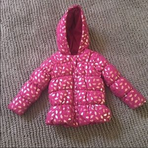 CRAZY 8 Girl's Pink & Gold Print Puffer Coat 3T